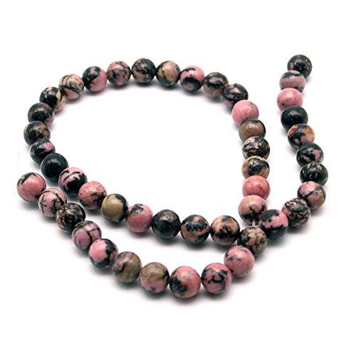 Beautiful Bead 8mm Premium Rhodonite Natural Gemstone Beaded String for Jewelry Making Black and Pink