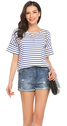 (Women's Spring Casual Striped Tunic Shirts Top (Blue&White, US XXL(20-22)))