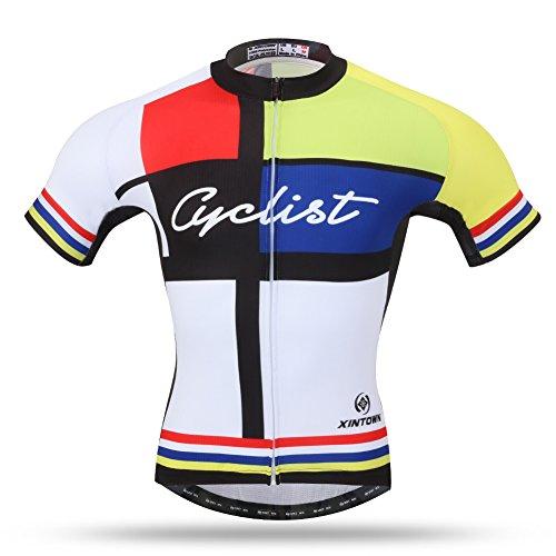 Xintow BicycleBikeCycle Clothing Mens CyclingJerseys 3dSiliconPaddedShort Sleeve SummerRacingJacket Shirt A095 (Shirts, - Unisex Large White Jersey