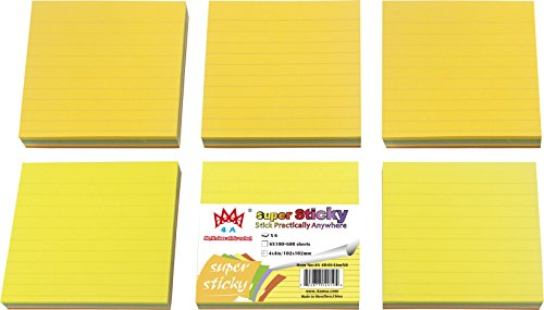 4 Inches,Neon Assorted,Lined,Self-Stick Notes,100 Sheets/Pad,6 Pads/Pack,600 Sheets/Pack,4A 404S-Lx6 ()