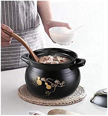 CJTMY De Style Japonais Non-Pot d'argile, résistant à la Chaleur Couvercle en céramique Casserole, Couvercle Noir Glaze, Noir 3,2 pintes avec poignée