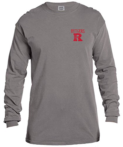 NCAA Rutgers Scarlet Knights Vintage Poster Comfort Color Long Sleeve T-Shirt, Medium,Grey