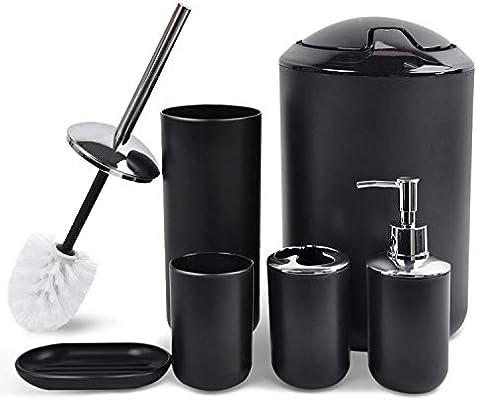 Black Bathroom Accessories Set 6 Piece Bath Ensemble for Decorative Countertop