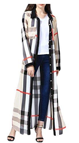 XQS Women's Modest Muslim Islamic Plaid Long Sleeve Muslim Robe Beige XL by XQS