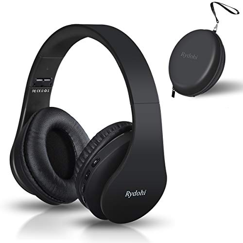 Bluetooth Headphones Over Ear, Rydohi Foldable Wireless and Wired Stereo Headset with Built-in Mic, Micro SD/TF, FM Radio, Soft Earmuffs & Light Weight for Cell Phone PC TV Travel (Black)