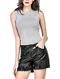 PU Leather Shorts For Women With Tassel and Pockets