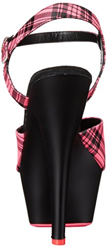Pleaser Women's Kiss209pl/Nhppu/B Platform Sandal Neon H. Pink Plaid Faux Leather/Black Matte 17jDfagquh