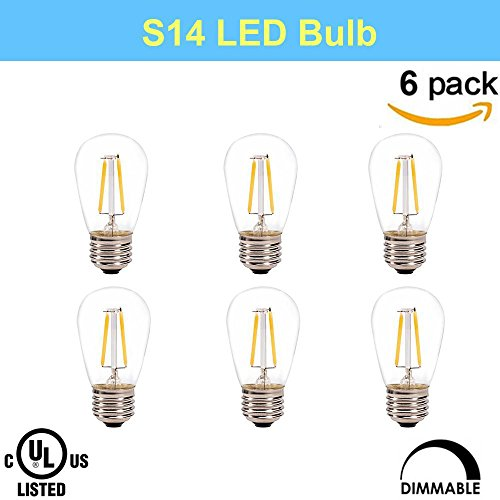 Makergroup UL Listed S14 Dimmable Bistro 2W E26 LED Bulb Vintage Antique Filament Bulbs, Perfect for Outdoor Indoor String Light,Christmas Light,Holiday Light,Bistro Light,Decorative Light (6-Pack) by Makergroup