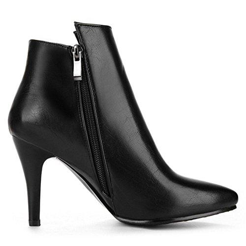 hohem Absatz und mit und Absatz RAZAMAZA hohem seitlichem Spitzschuh schwarz Damen Reißverschluss xwqInwXYB