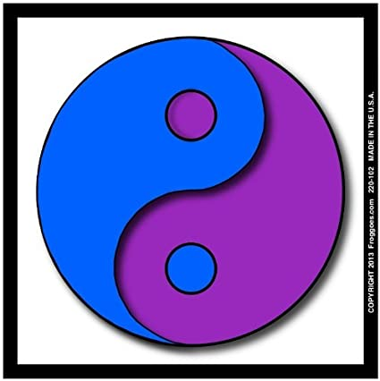 YING YANG BLUE PURPLE WITH WHITE BACKGROUND STICK ON