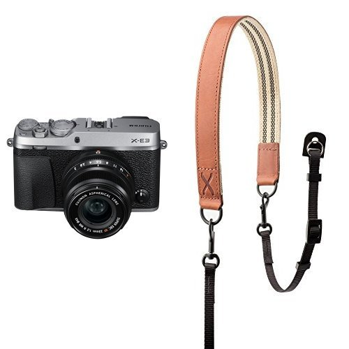 Fujifilm X-E3 Mirrorless Digital Camera w/XF23mmF2 R WR Kit - Silver w/ Fujifilm Premium Leather Camera Strap - Brown