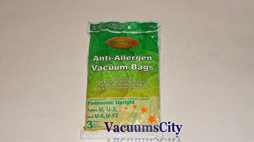 Panasonic Upright Anti-Allergen Type U, U-3, U-6, & U-12 Bags 3 Pk Part # A816,816