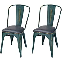 Adeco Metal Stackable Industrial Chic Dining Bistro Cafe Side Chairs, PU Cushion Seat, Distressed (Set of 2)