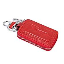 Contacts Genuine Leather Car Key Wallet Key Holder Bag Zipper Case with Keychain Key Ring