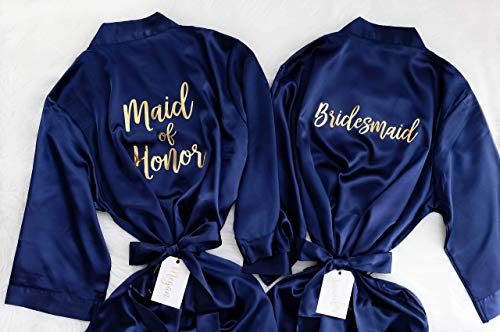 Joy Mabelle Bridesmaid or Maid of Honor Robes in Navy and Gold (or mix and match robe colors). Personalized Wedding Gifts For Bride and Bridal Party from Joy MaBelle Gifts
