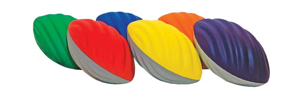 Spiral Foam Football, 9'' Long (Set of 6) by Great Lakes Sports