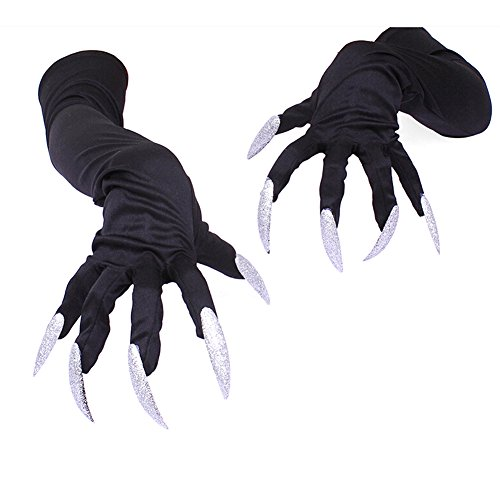 Not So Scary Halloween Party Costumes (Fuyamp Adults Halloween Long Finger Gloves with Claws Cosplay Party Costume Accessory)