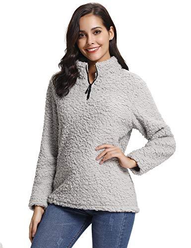Abollria Womens Long Sleeve Zip Sweatshirt Fleece Sherpa Pul