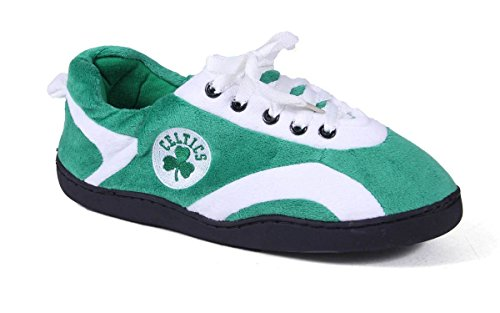 Happy Feet and Comfy Feet Mens and Womens OFFICIALLY LICENSED NBA All Around Slippers Boston Celtics