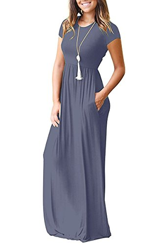 Viishow Women's Short Sleeve Loose Plain Maxi Dresses Casual Long Dresses with Pockets (XXL, Purple Gray)