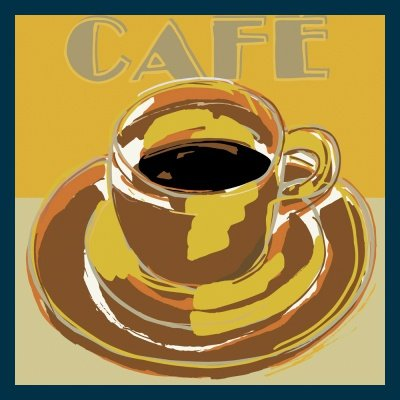 Bild mit Rahmen Rod Neer - Coffee I - Holz blau - 50 x 50cm - Premiumqualität - Cuisine - Deli's - Cult - Kinder - Comic - Pop-