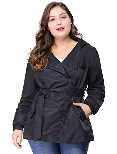 - Agnes Orinda Women's Plus Size Zip Closure Hooded Belted Trench Rain Coat 3X Blue