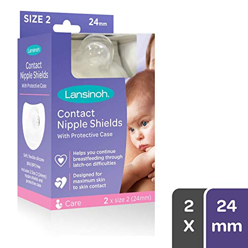 Lansinoh Contact Nipple Shield with Carrying Case, Size 1 (24 mm) 2 Count