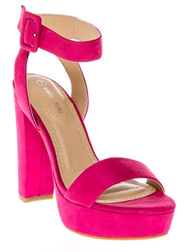 CALICO KIKI Women's Shoes Buckle Ankle Strap Open Toe Chunky High Heel Platform Dress Sandals (7 US, Fuchsia_SU)