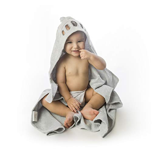 Organic Hooded Baby Towel by Sien - Premium Bamboo Baby Hooded Towel - Ideal As Bath Or Beach Towel for Infants & Toddlers - Ultra Soft, Antibacterial for Baby Boy and Baby Girl - Knight
