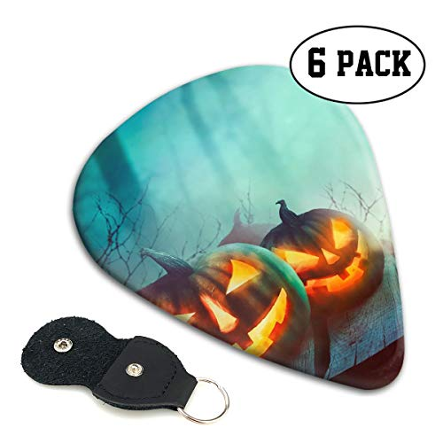 Nice Music Halloween Design Pumpkins Ultra Thin 0.46 Med 0.71 Thick 0.96mm 4 Pieces Each Base Prime Celluloid Ivory Jazz Mandolin Bass Ukelele Plectrum Guitar Pick Pouch Display