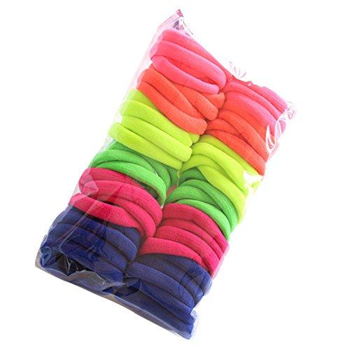 JonerytimeChristmas Gift50 pcs Lowest Price Girl Elastic Hair Ties Band Rope Ponytail Bracelet (Fluorescence Color)