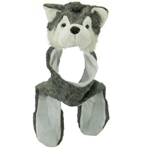 (Husky Plush Animal Hat / Scarf / Mittens - Grey Husky)