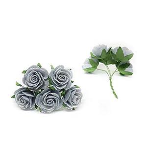 "1"" Blue Grey Paper Flowers Paper Rose Artificial Flowers Fake Flowers Artificial Roses Paper Craft Flowers Paper Rose Flower Mulberry Paper Flowers, 20 Pieces 2"