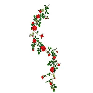 Luyue Artificial Rose Flowers Garland Wedding Flowers Vines Fake Flowers Silk Roses Garland for Decorations 116