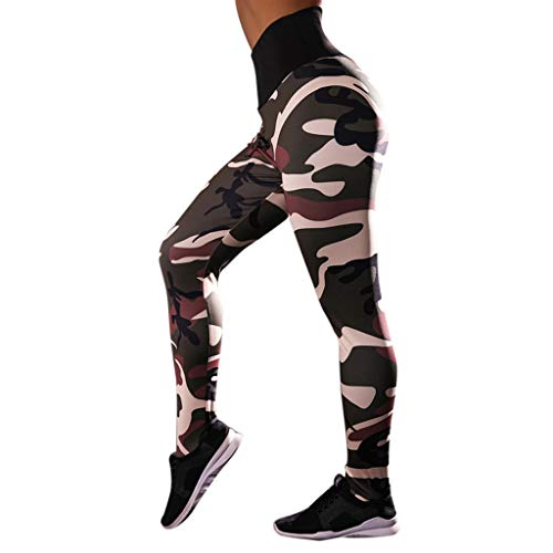 HULKAY New Upgrade High Waist Yoga Pant, Tummy Control, Workout Pants for Women Camouflage Print Stretch Leggings(Green,L)