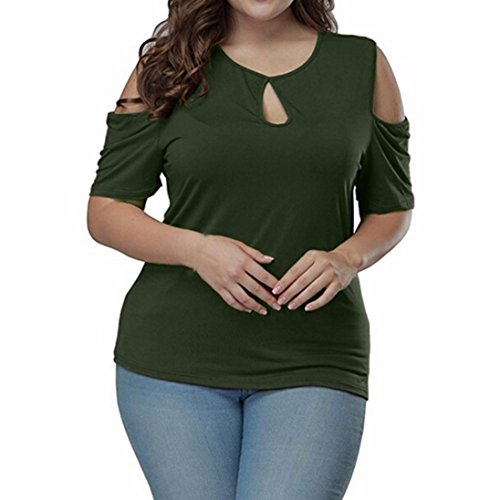Minisoya Women's Plus Size Keyhole Blouse Summer Short Sleeve Top Off Shoulder T-Shirt Casual Tunic Pullover (Green, 2XL)