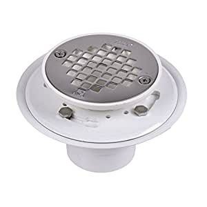Oatey 42213 PVC Drain with Stainless Steel Strainer for Tile Shower Bases, 2-Inch or 3-Inch