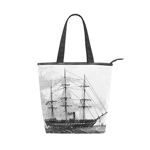 Canvas Tote Bag Vintage Sailing Ship Womens Canvas Shoulder Grocery Shopping Bags with Zipper & Pockets