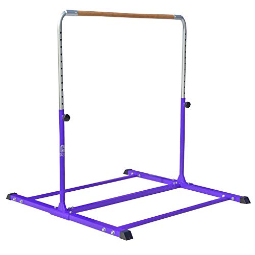 Modern-Depo Gymnastics Junior Training Kip Bar Pro | Expandable Adjustable (3'- 5') Horizontal Bar for Kids Home Indoor Outdoor Beech Wood - Purple