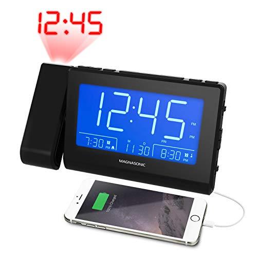 Magnasonic Bluetooth Speaker Alarm Clock Radio with Dual USB