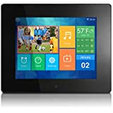 Aluratek (AWDMPF208F) 8 Hi-Res WIFI Digital Photo Frame w/ Touchscreen IPS LCD Display & 8GB Memory (1024 x 768 Resolution), Photo/Music/Video Support, Wall Mountable