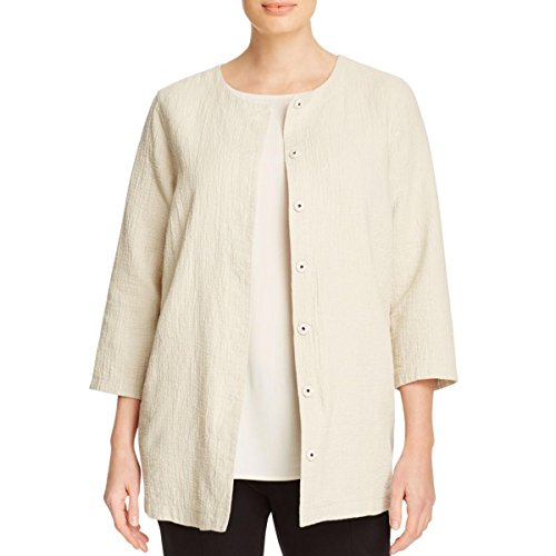 Eileen Fisher Womens Plus Round Neck Button-Down Jacket Ivory 3X