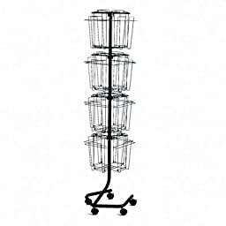 Safco - Wire Rotary Display Racks 16 Compartments 15W X 15D X 60H Charcoal \