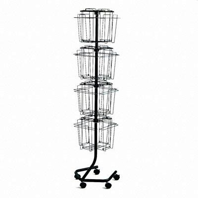 Safco - Wire Rotary Display Racks 16 Compartments 15W X 15D X 60H Charcoal ''Product Category: Office Furniture/Display Racks & Cases''