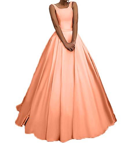 Brautjungfernkleider Ballkleider Linie Rock Einfach Partykleider Satin Orange Charmant Damen Langes A Abendkleider wxYqqzXT