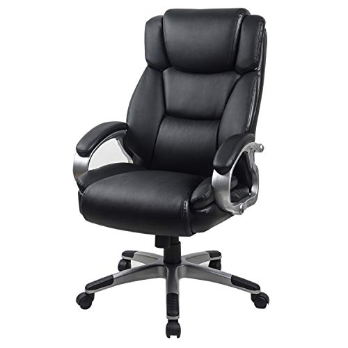 LCH Bonded Leather High-Back Office Chair with Ergonomic Adjustable Lumbar Support and Multi-Angle Reclining Lock Function 90° to 110°- Computer Desk Chair with Thick Padding