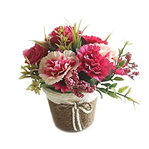 Artificial Flowers in Pots, Assorted Carnation Faked Flowers Small Plant Mini Bonsai for Wedding Home Shops Office Dorm Desktop Decoration 87