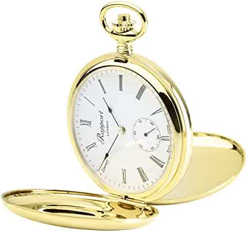 Vintage Pocket Watch with Chain by Rapport - Classic Oxford Hunter Case Pocket Watch with Sub-Seconds - Gold