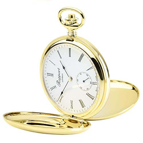 Vintage Pocket Watch with Chain by Rapport - Classic Oxford Hunter Case Pocket Watch with Sub-Seconds - Gold from Rapport