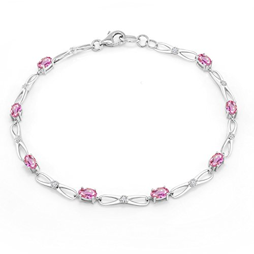 Gem Stone King 10K White Gold Oval Pink Sapphire White Diamond Bracelet 2.22 Ct 7.5inches ()
